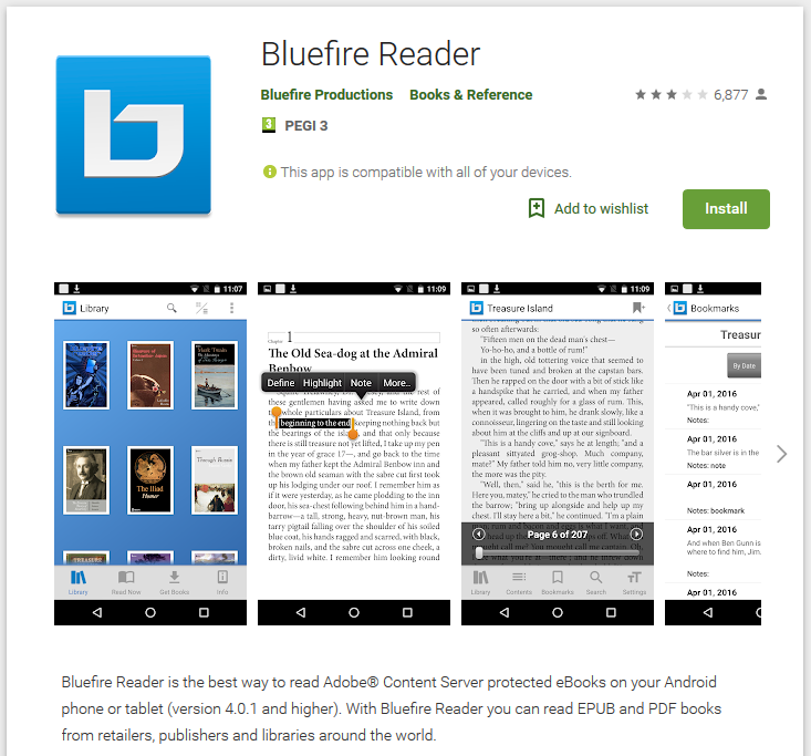 Downloading to Android Bluefire Reader Device