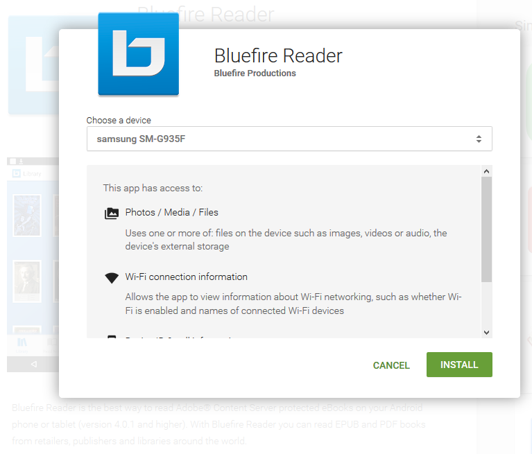 Downloading to Android Bluefire Reader Install